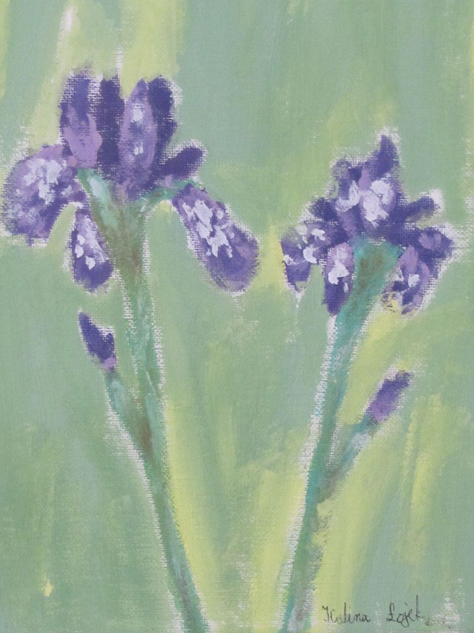 Kwiatki zakwitły, farby akrylowe, Kalina Łojek