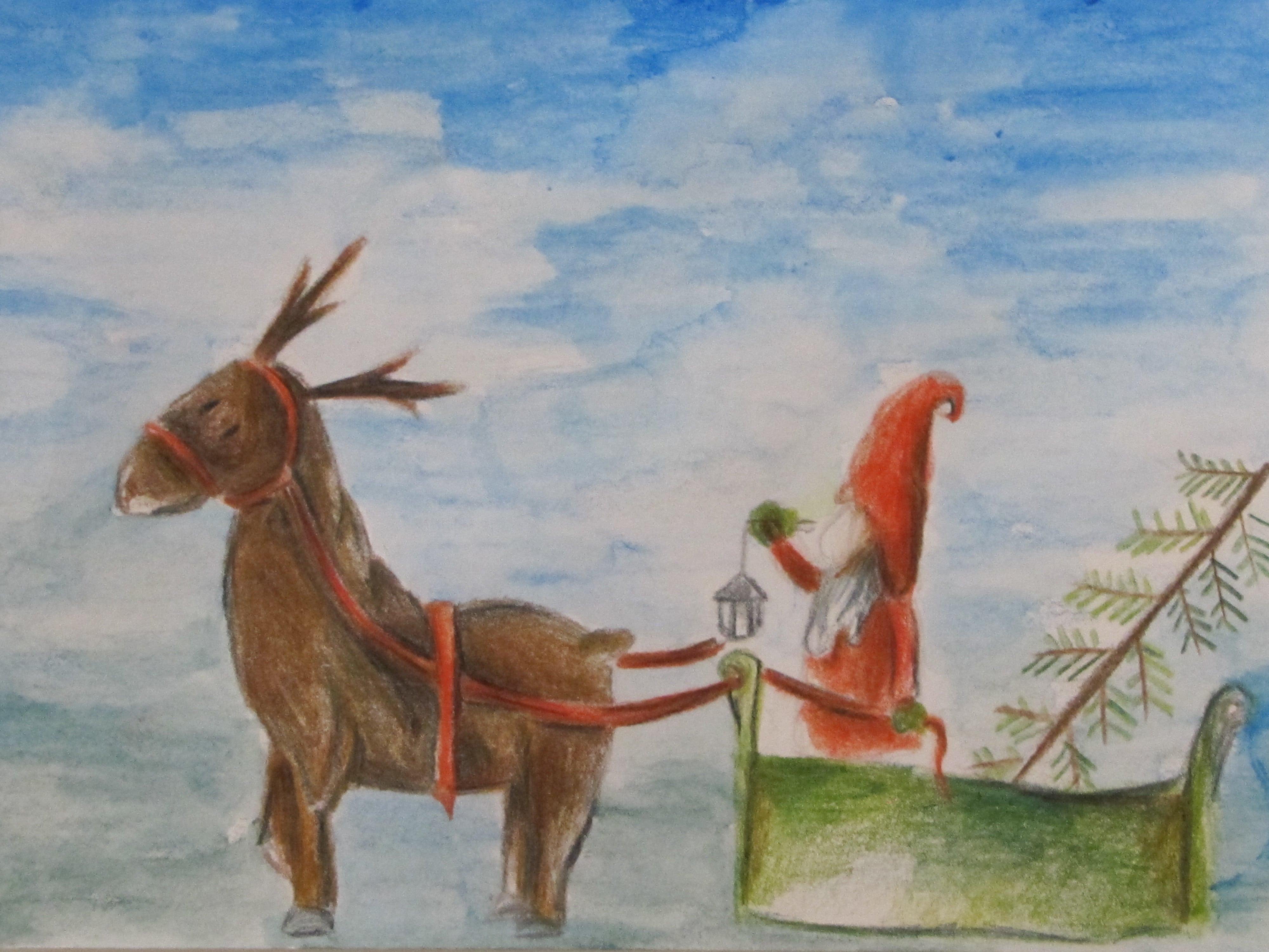 Mikołaj przyjechał do Starzawy, kredka, Kalina Łojek