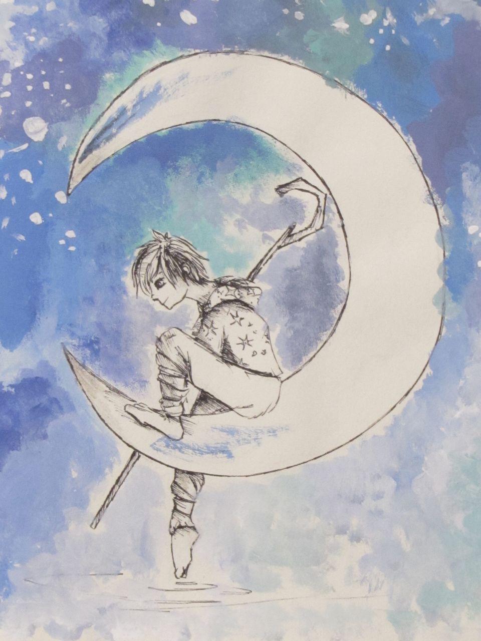 Na Księżycu, akwarela, Radochna Łojek