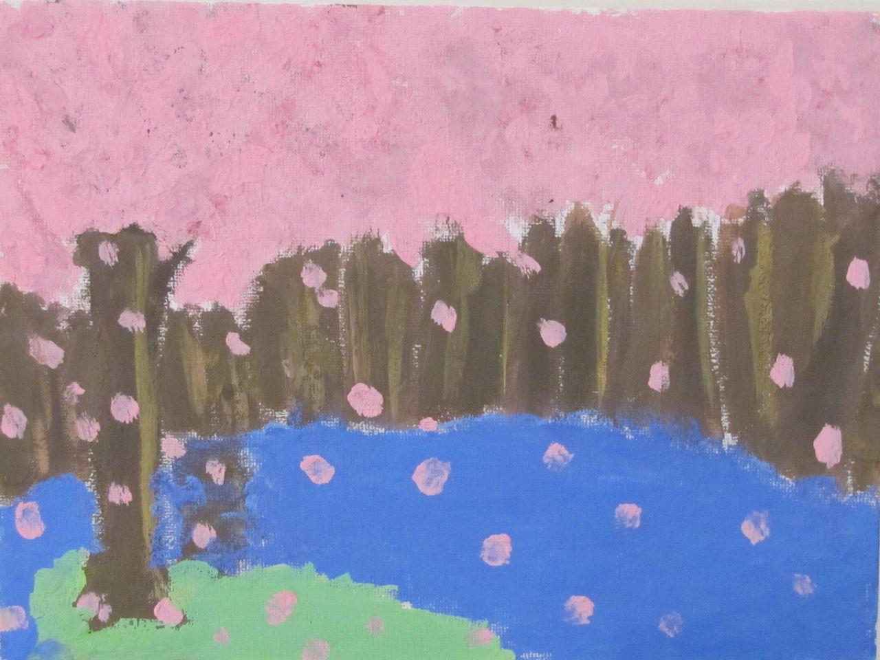 Różowa wiosna, farby akrylowe, Kalina Łojek